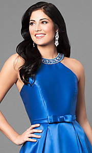 Image of long satin high-neck prom dress with jeweled collar.  Style: TE-6007 Detail Image 3