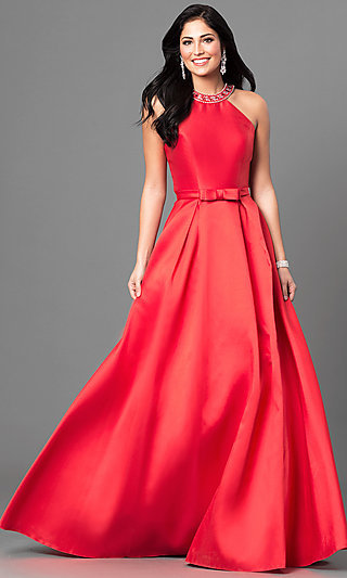 Long Satin High-Neck Prom Dress with Jeweled Collar