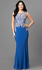 Long Prom Dress with Art Deco Embellished Bodice