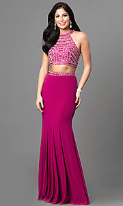 Two-Piece Prom Dress with High Neck Beaded Bodice