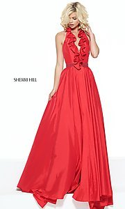V-Neck Halter Sherri Hill Dress