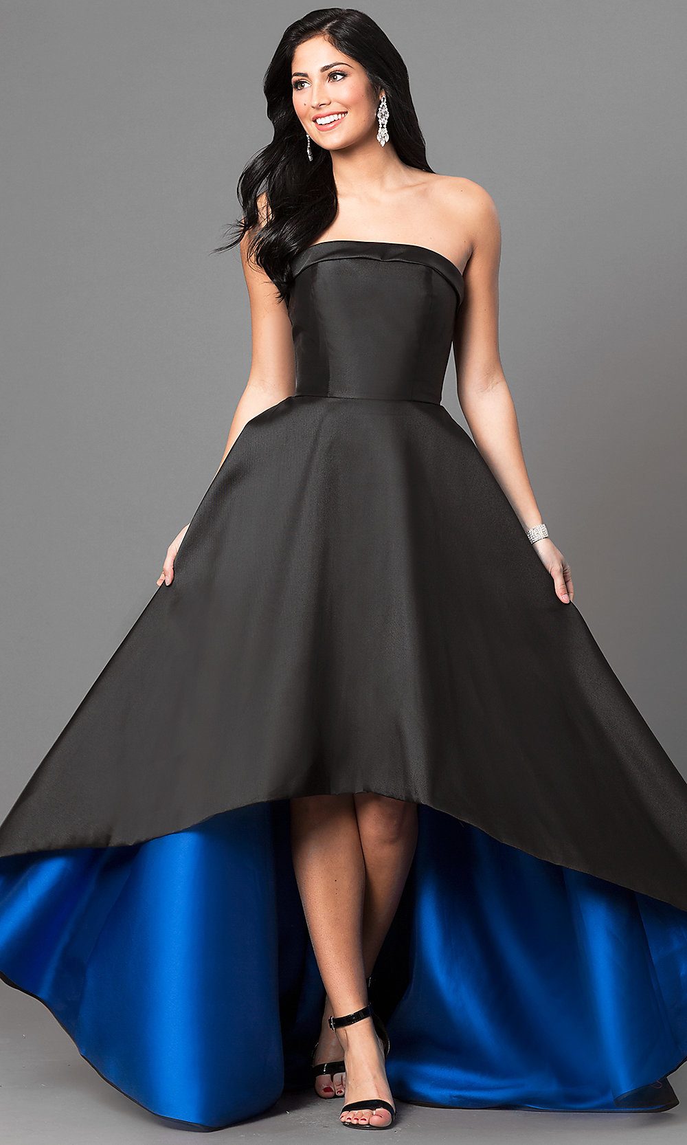 Long Strapless Black Prom Dress with High Low HemRed High Low Prom Dresses 2013