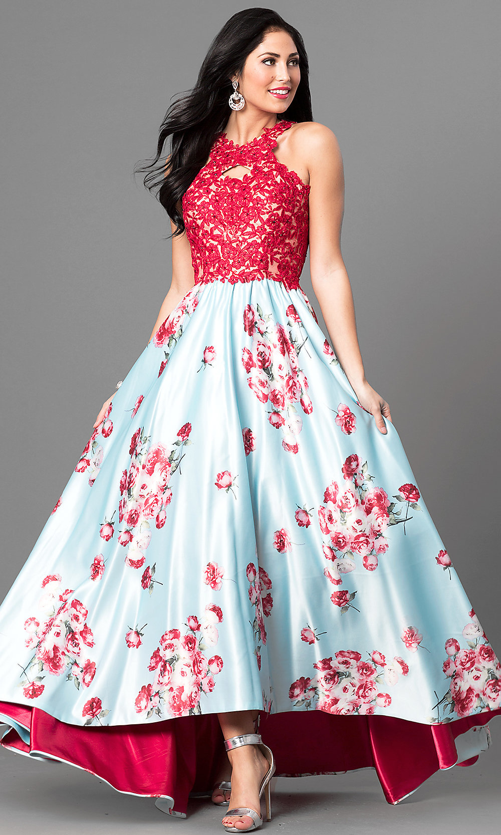 Floral Print High Low Prom Dress With Lace Promgirl