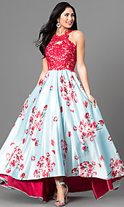 Floral Print High-Low Prom Dress with Lace Applique