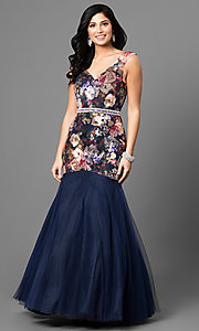 Long Sleeveless V-Neck Prom Dress with Floral Print