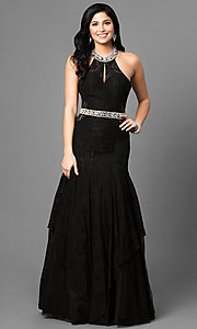 Black Long Lace Prom Dress with Halter Neckline