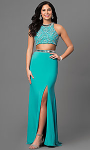 Long Two-Piece Prom Dress with Beaded Bodice