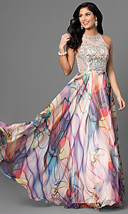 Image of long beaded-bodice prom dress with print skirt. Style: TE-6060 Front Image