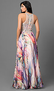 Image of long beaded-bodice prom dress with print skirt. Style: TE-6060 Back Image