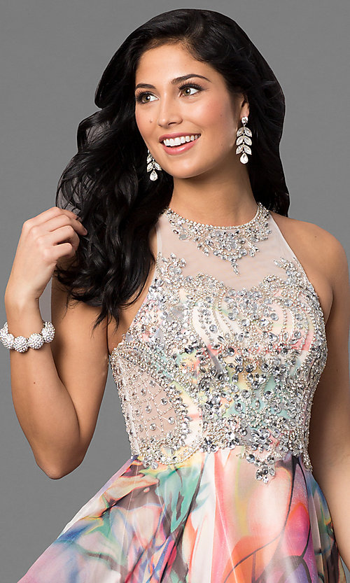 Image of long beaded-bodice prom dress with print skirt. Style: TE-6060 Detail Image 1