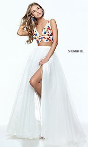 V-Neck Long Two-Piece Sherri Hill Prom Dress