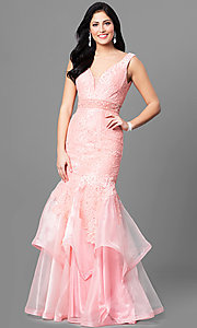 Long Mermaid Prom Dress with V-Neckline