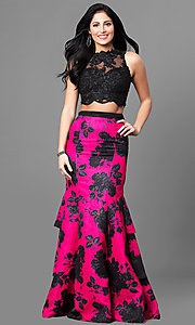 Two-Piece Lace Top Prom Dress with Print Skirt