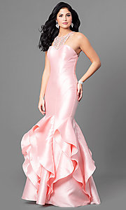 Long Beaded Mermaid Prom Dress with Ruffled Skirt