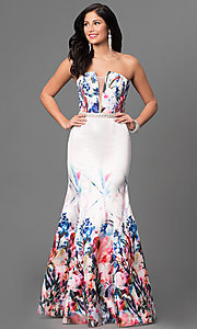 Floral Print Long Prom Dress with Removable Straps