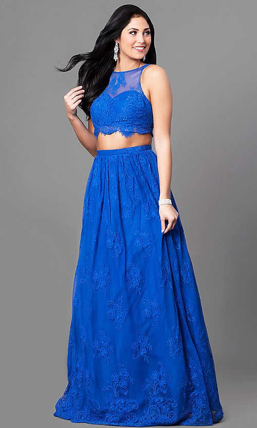 Two-Piece Lace Prom Dress with Side Pockets