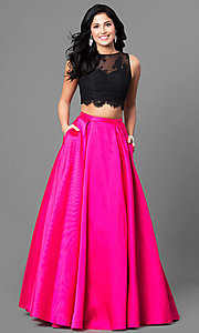 Long Two-Piece Lace Bodice Prom Dress with Pockets