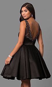 Image of short sleeveless a-line prom dress by Sherri Hill. Style: SH-50962 Back Image