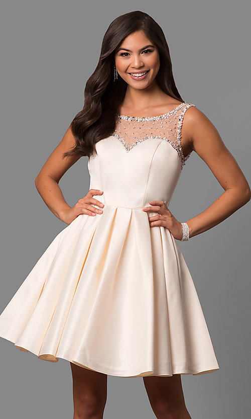 Image of short sleeveless a-line prom dress by Sherri Hill. Style: SH-50962 Detail Image 2