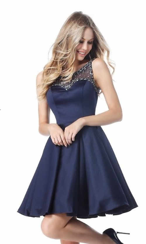 Image of short sleeveless a-line prom dress by Sherri Hill. Style: SH-50962 Detail Image 3