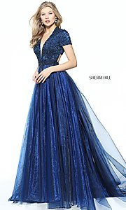Short-Sleeve Long Sherri Hill Prom Dress
