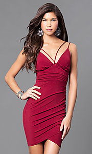 Image of short v-neck ruched party dress. Style: TR-CD51771 Detail Image 1