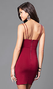 Image of short v-neck ruched party dress. Style: TR-CD51771 Back Image