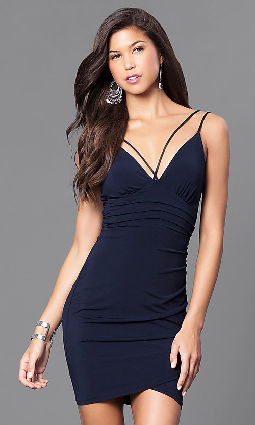 Image of short v-neck ruched party dress. Style: TR-CD51771 Detail Image 2