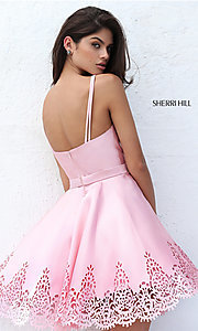 Image of red v-neck Sherri Hill short prom dress. Style: SH-S50678r Back Image