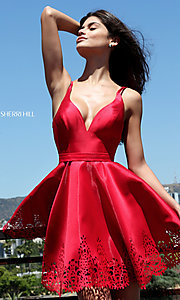 Image of red v-neck Sherri Hill short prom dress. Style: SH-S50678r Front Image