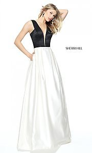 V-Neck Long Prom Dress with Pockets