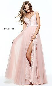 Sherri Hill Prom Dress with Lace Underlay