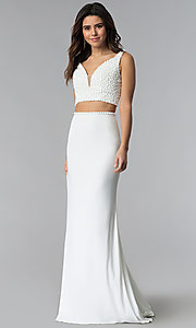 Two-Piece V-Neck Long Prom Dress by Sherri Hill