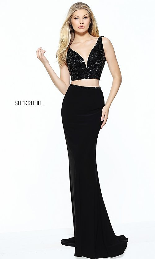 Image of two-piece v-neck long prom dress by Sherri Hill. Style: SH-50996 Front Image