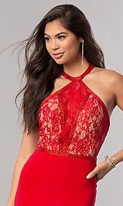 Image of Sherri Hill prom dress with racerback lace bodice. Style: SH-50998 Detail Image 1