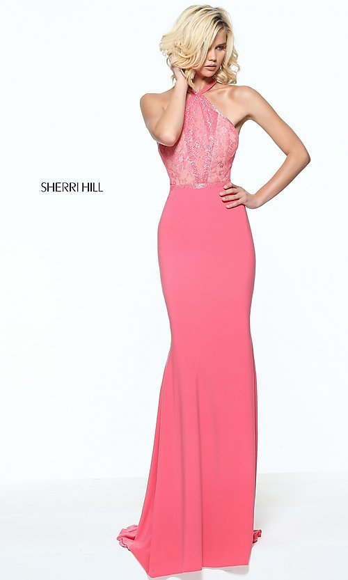Racerback Lace-Bodice Sherri Hill Prom Dress -PromGirl