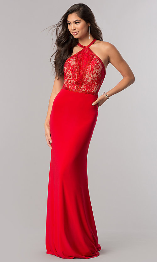 4162fae0e9 Image of Sherri Hill prom dress with racerback lace bodice. Style  SH-50998