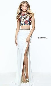 Ivory and Multi Color Long Prom Dress