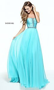 Long Strapless Prom Dress with Ruched Bodice