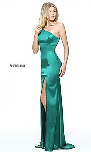 Image of long one-shoulder prom dress by Sherri Hill. Style: SH-51007 Detail Image 3