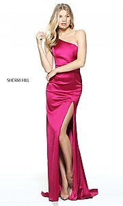 Image of long one-shoulder prom dress by Sherri Hill. Style: SH-51007 Detail Image 2