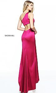 Image of long one-shoulder prom dress by Sherri Hill. Style: SH-51007 Back Image