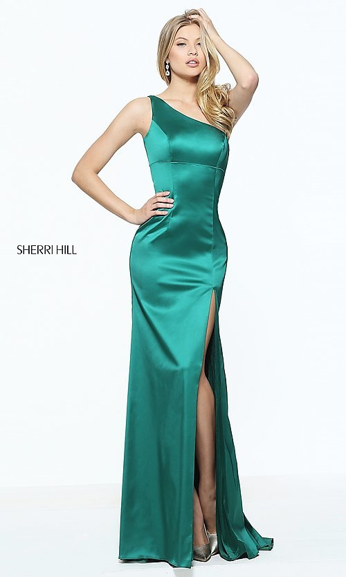Image of long one-shoulder prom dress by Sherri Hill. Style: SH-51007 Front Image