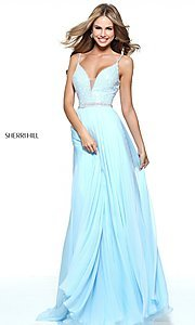 Image of deep v-neck prom dress by Sherri Hill with jewels. Style: SH-51009 Front Image