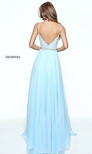 Image of deep v-neck prom dress by Sherri Hill with jewels. Style: SH-51009 Back Image