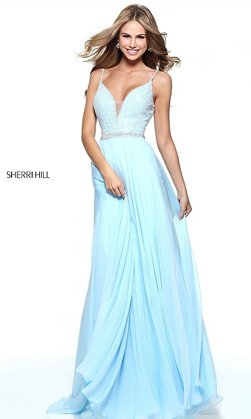 V-Back Jeweled-Bodice Sherri Hill Prom Dress-PromGirl