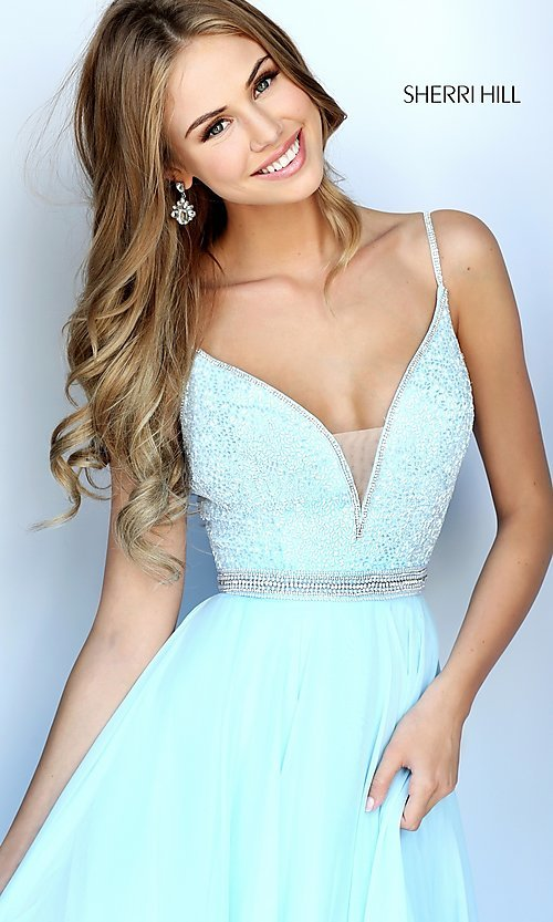 Image of deep v-neck prom dress by Sherri Hill with jewels. Style: SH-51009 Detail Image 1