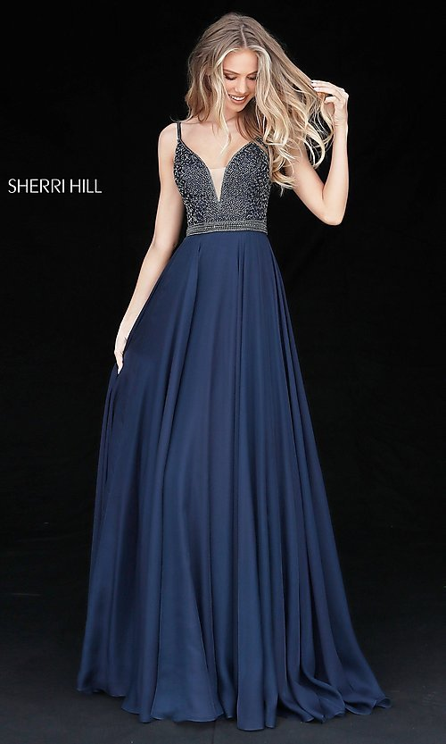 Image of deep v-neck prom dress by Sherri Hill with jewels. Style: SH-51009 Detail Image 3