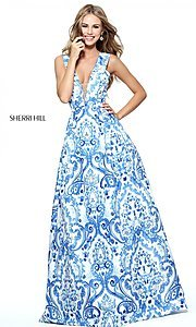 Blue and Ivory Print A-Line Prom Dress