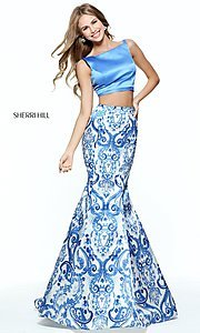 Blue Print Two Piece Mermaid Prom Dress
